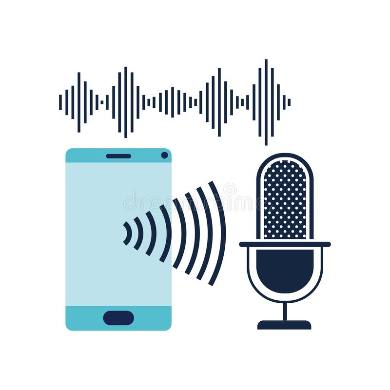 Smartphone con el icono auxiliar de la voz ilustración del vector