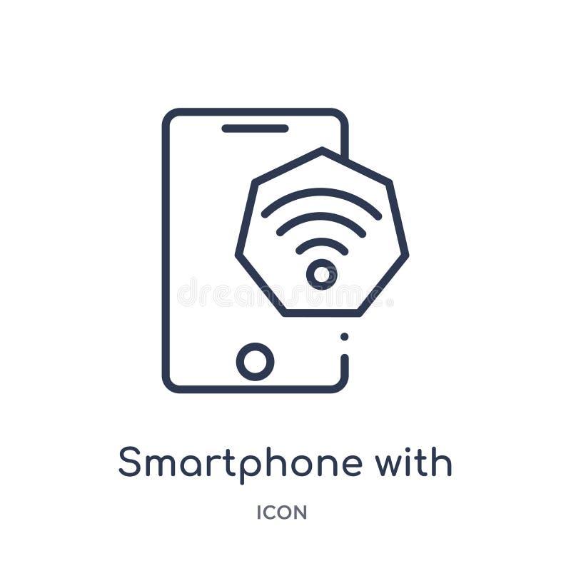 smartphone con el icono de la conexión inalámbrica de la última colección del esquema de los glyphicons Línea fina smartphone con ilustración del vector