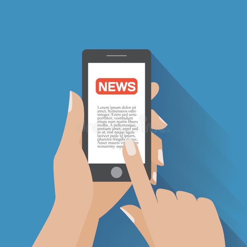 Smartphone con el icono de las noticias en la pantalla ilustración del vector