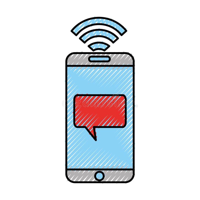 Smartphone con el icono del mensaje de la burbuja del discurso libre illustration