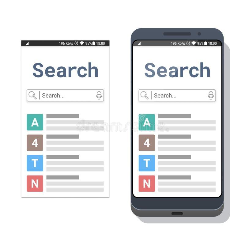 Smartphone con el uso de la búsqueda o el explorador Web móvil con el campo de búsqueda y el icono que mecanografía de la voz libre illustration