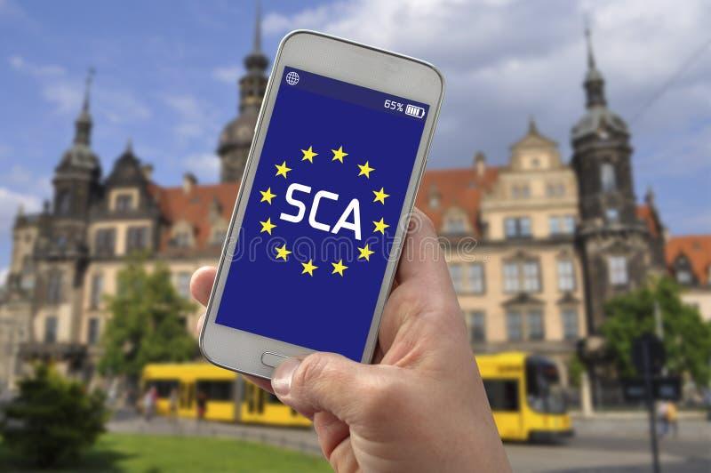 Smartphone con forte autenticazione del cliente delle FECCIE immagini stock