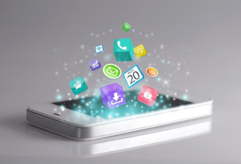 Smartphone con i apps fotografia stock libera da diritti