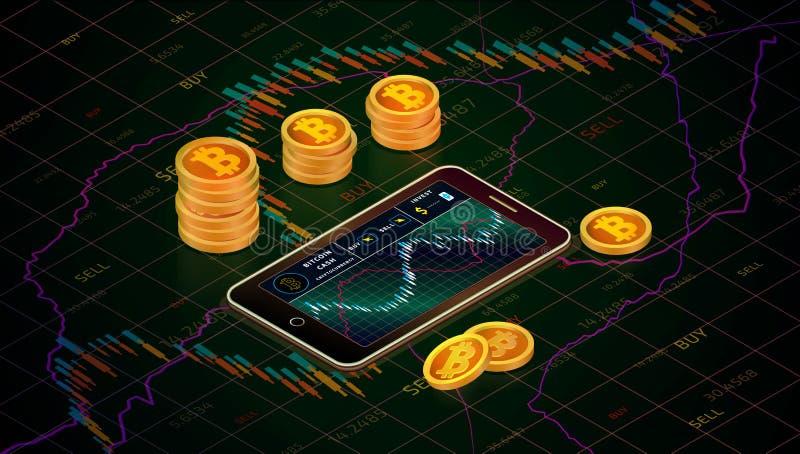 Smartphone con il grafico dei contanti del bitcoin sullo schermo illustrazione di stock