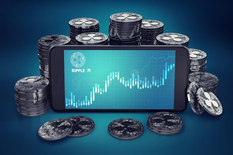 Smartphone con il grafico di crescita dell'ondulazione sullo schermo fra i mucchi dell'ondulazione conia illustrazione di stock