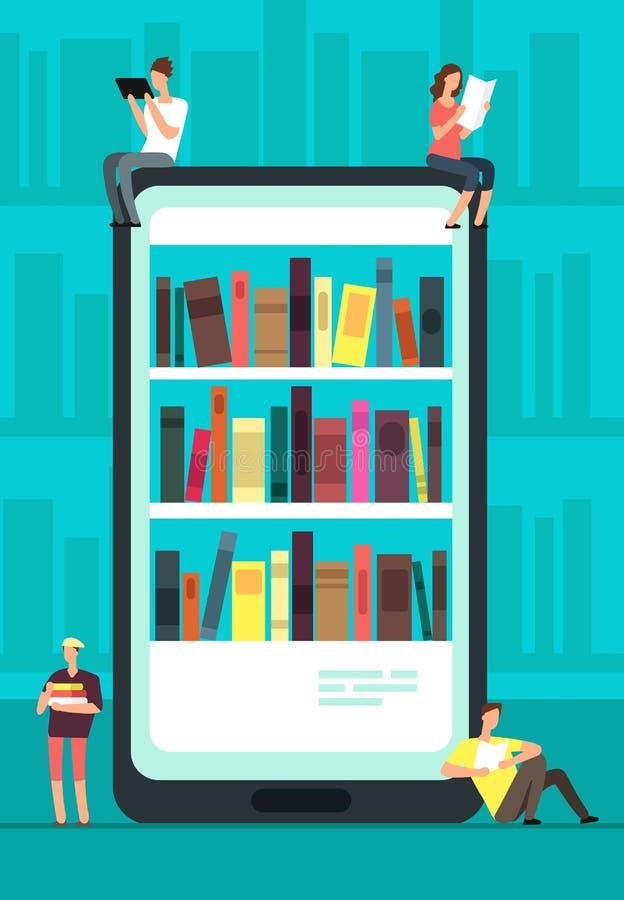 Smartphone con il lettore app ed i libri di lettura della gente Il deposito, la biblioteca e l'istruzione online di libro vector  royalty illustrazione gratis