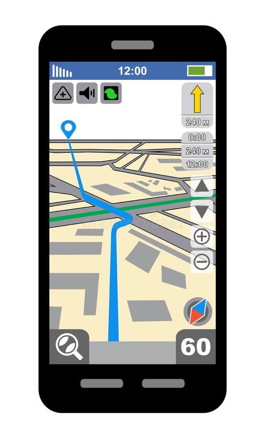 Smartphone con il navigatore di GPS royalty illustrazione gratis