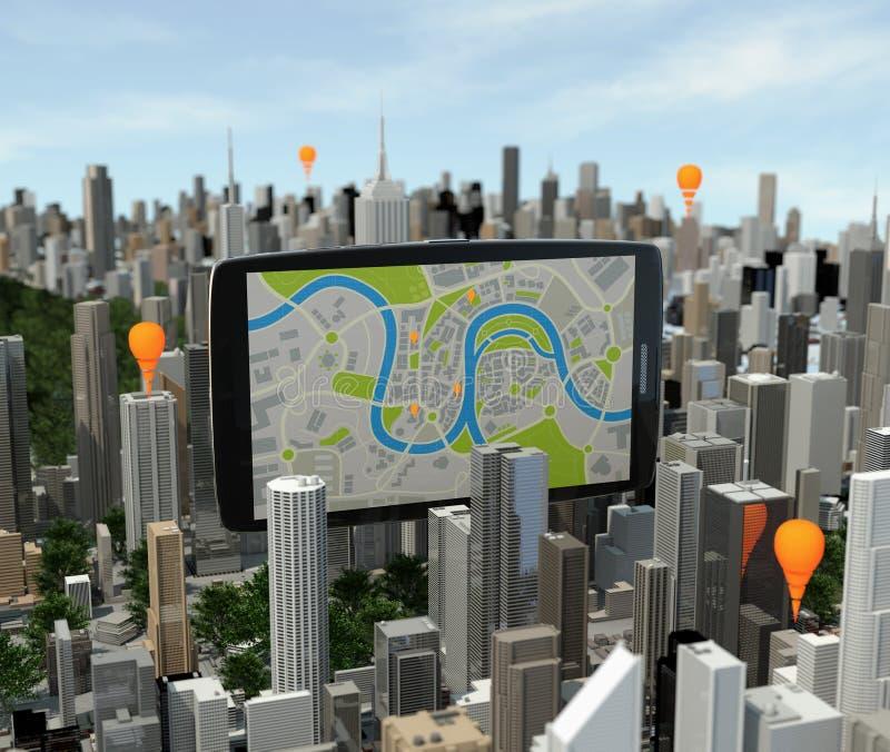Smartphone con il navigatore sopra la città immagini stock