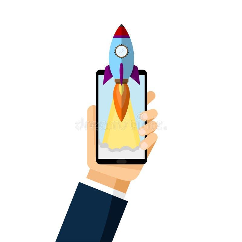 Smartphone con il razzo del lancio Icona piana del razzo Concetto Startup Sviluppo di progetto illustrazione di stock