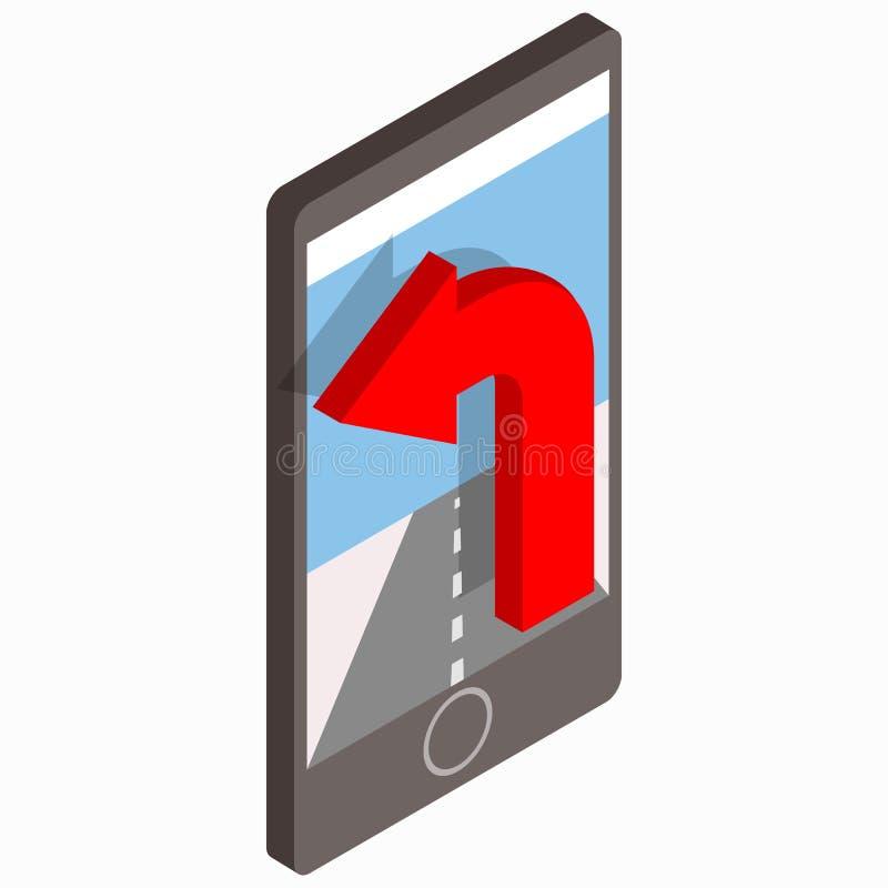 Smartphone con l'icona del navigatore di GPS illustrazione vettoriale