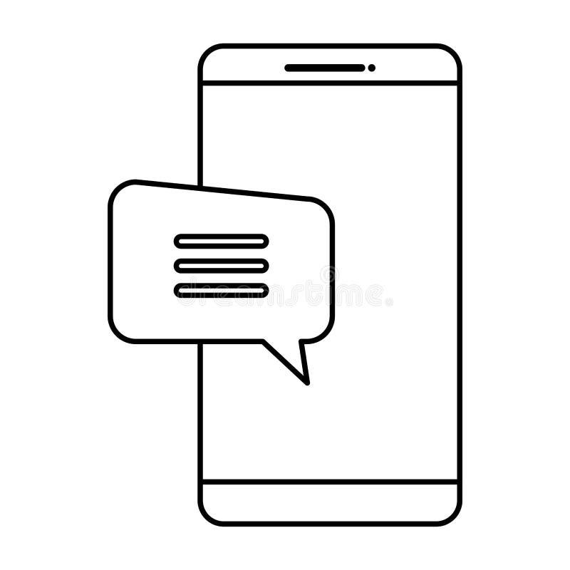 Smartphone con la burbuja del discurso stock de ilustración