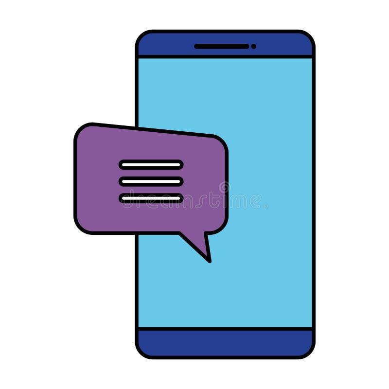 Smartphone con la burbuja del discurso ilustración del vector
