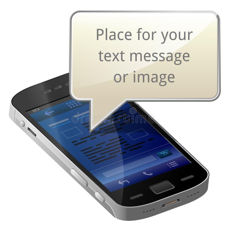 Smartphone con la burbuja en blanco del mensaje ilustración del vector