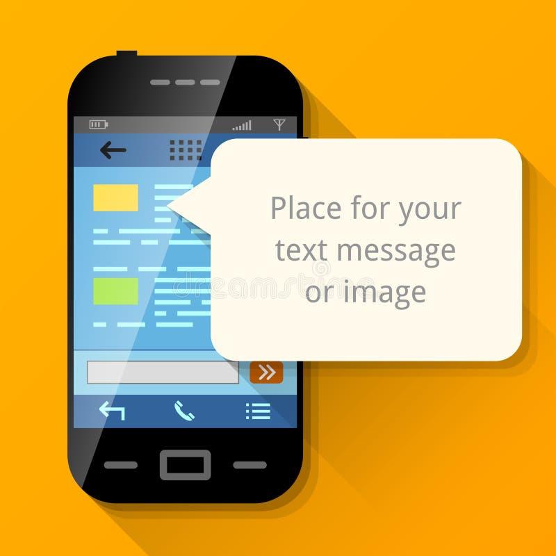 Smartphone con la burbuja en blanco del mensaje stock de ilustración