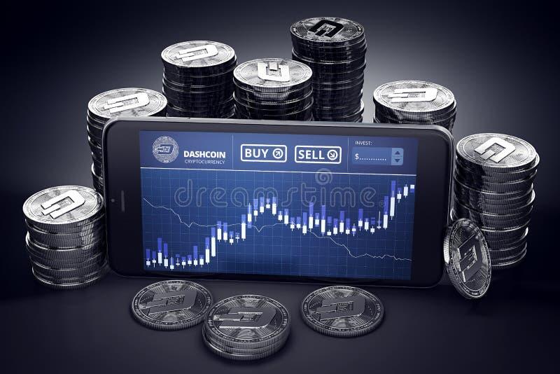 Smartphone con la carta comercial de Dashcoin en pantalla entre pilas de Dashcoins de plata stock de ilustración