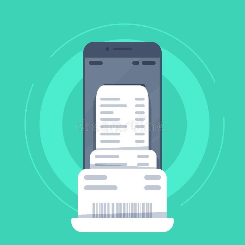 Smartphone con la carta della fattura della fattura, telefono cellulare piano di stile con la carta della fattura della fattura illustrazione vettoriale