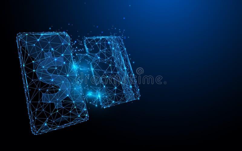 Smartphone con la carta di credito dalle linee, triangoli e progettazione di stile della particella illustrazione vettoriale
