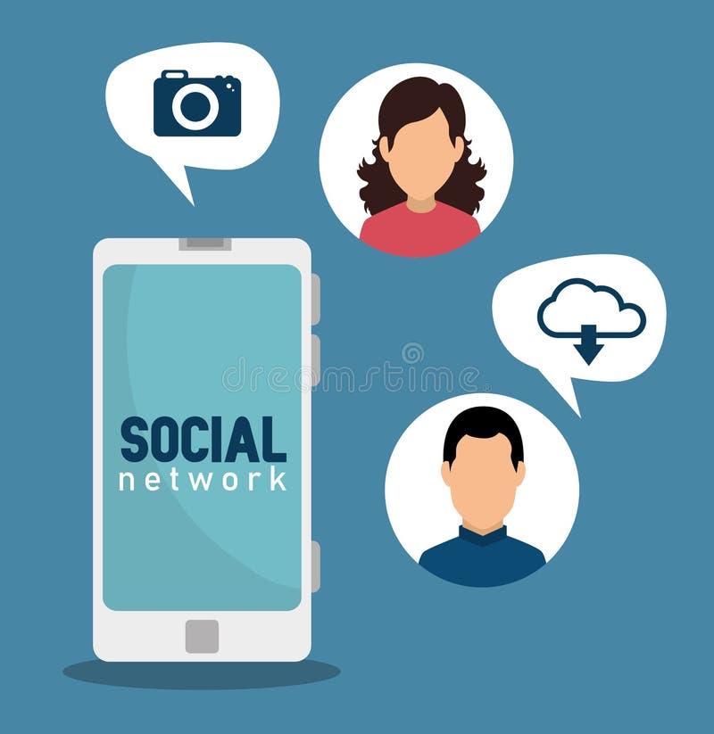 Smartphone con la conexión digital de la mujer y del hombre stock de ilustración