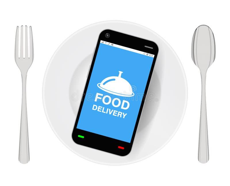 Smartphone con la consegna dell'alimento sul piatto con le gente ed il cucchiaio illustrazione vettoriale