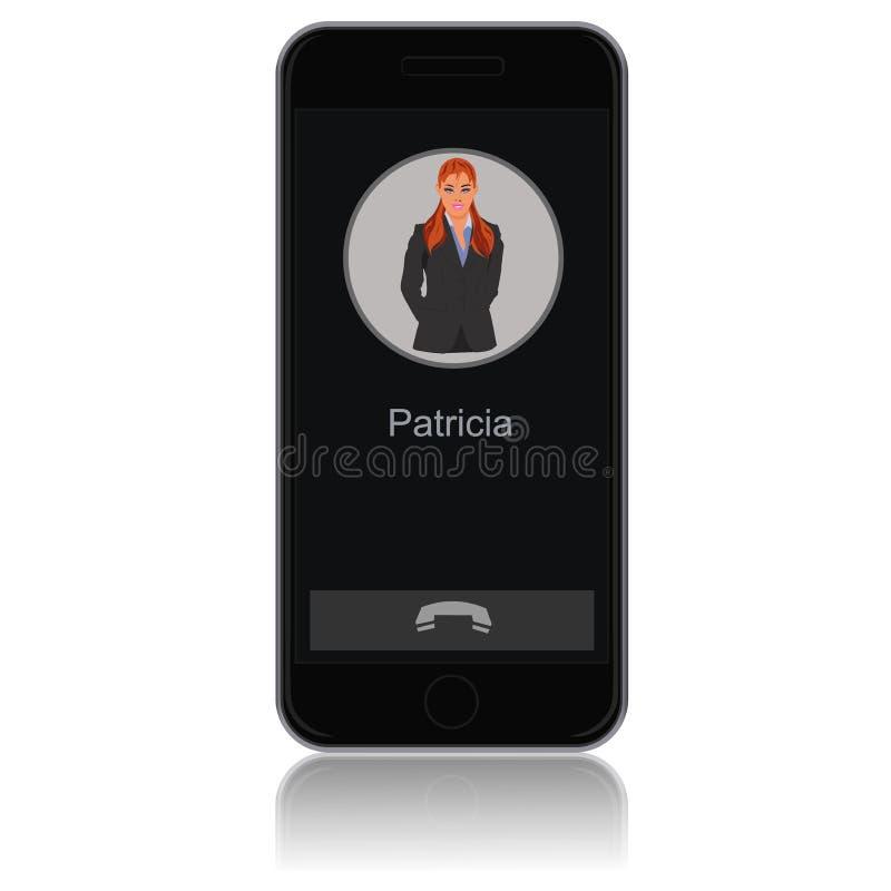 Smartphone con la donna sullo schermo, illustrazione di vettore royalty illustrazione gratis