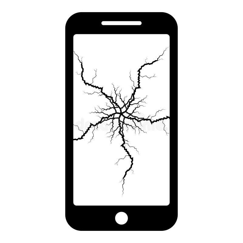Smartphone con la grieta en el teléfono de pantalla roto moderno quebrado del smartphone del teléfono móvil de la exhibición con  ilustración del vector