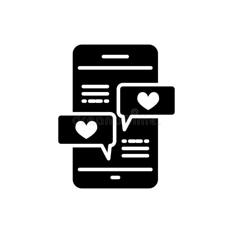 Smartphone con la l?nea de mensaje del coraz?n icono, muestra s?lida del vector, pictograma linear del estilo aislado en blanco S stock de ilustración