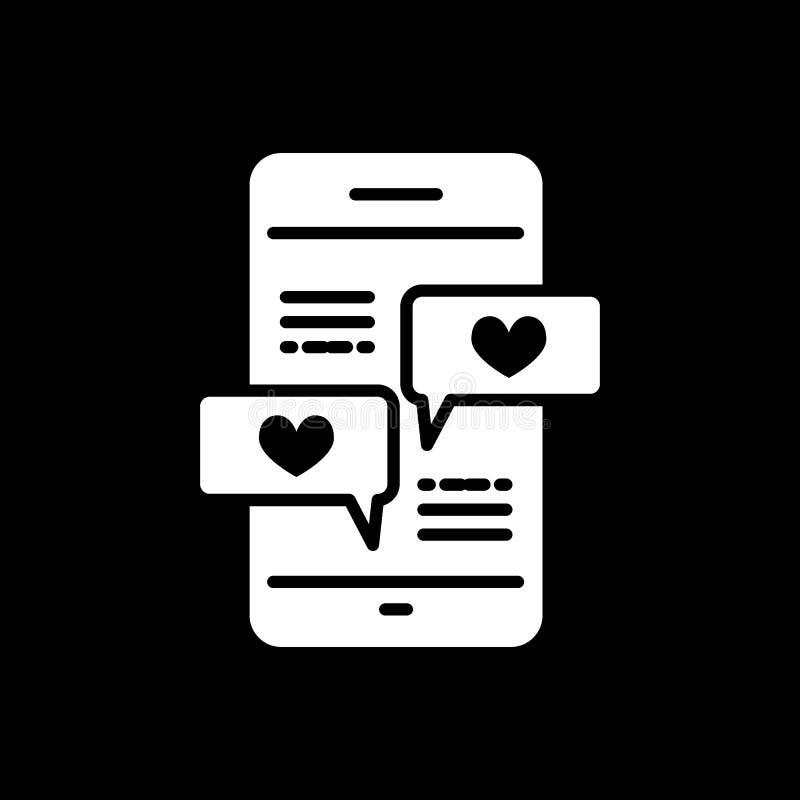 Smartphone con la l?nea de mensaje del coraz?n icono, muestra s?lida del vector, pictograma linear del estilo aislado en negro S? libre illustration