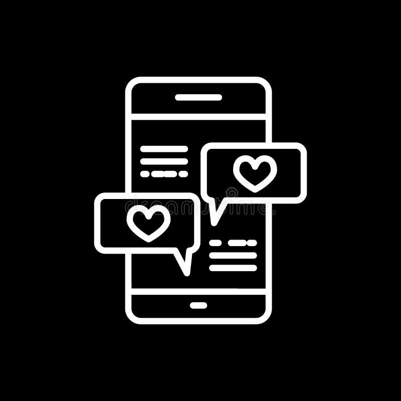 Smartphone con la l?nea de mensaje del coraz?n icono, muestra del vector del esquema, pictograma linear del estilo aislado en neg libre illustration