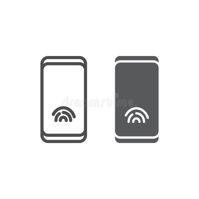 Smartphone con la línea e icono del glyph, tecnología e identificación, muestra del teléfono, gráficos de vector, a del sensor de ilustración del vector
