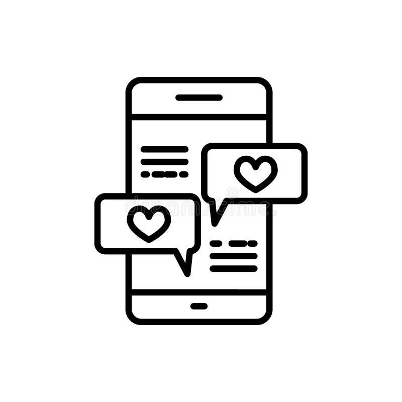 Smartphone con la l?nea de mensaje del coraz?n icono, muestra del vector del esquema, pictograma linear del estilo aislado en bla stock de ilustración