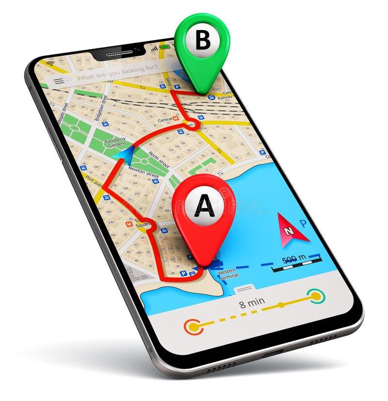 Smartphone con la navegación app del mapa de GPS stock de ilustración
