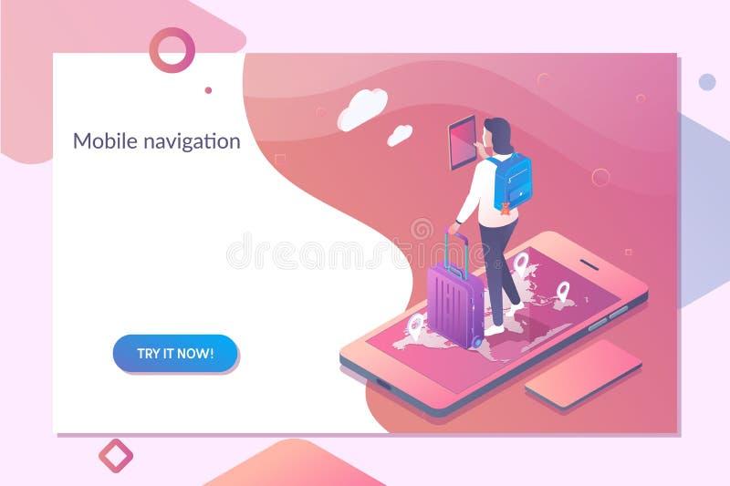 Smartphone con la navegación móvil app en la pantalla Plantilla en línea de la navegación en el ejemplo isométrico del vector libre illustration