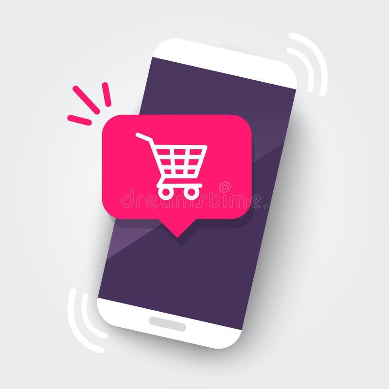 Smartphone con la notifica del carrello, nuovo acquisto, ordine online del deposito con il telefono Progettazione piana UI/elemen royalty illustrazione gratis
