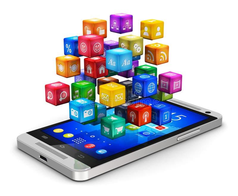 Smartphone con la nube de iconos stock de ilustración