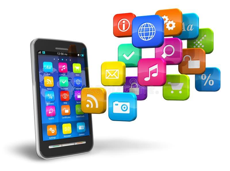Smartphone con la nube de los iconos de la aplicación libre illustration