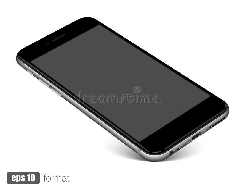 Smartphone con la pantalla en blanco que se coloca en esquina, en el fondo blanco libre illustration