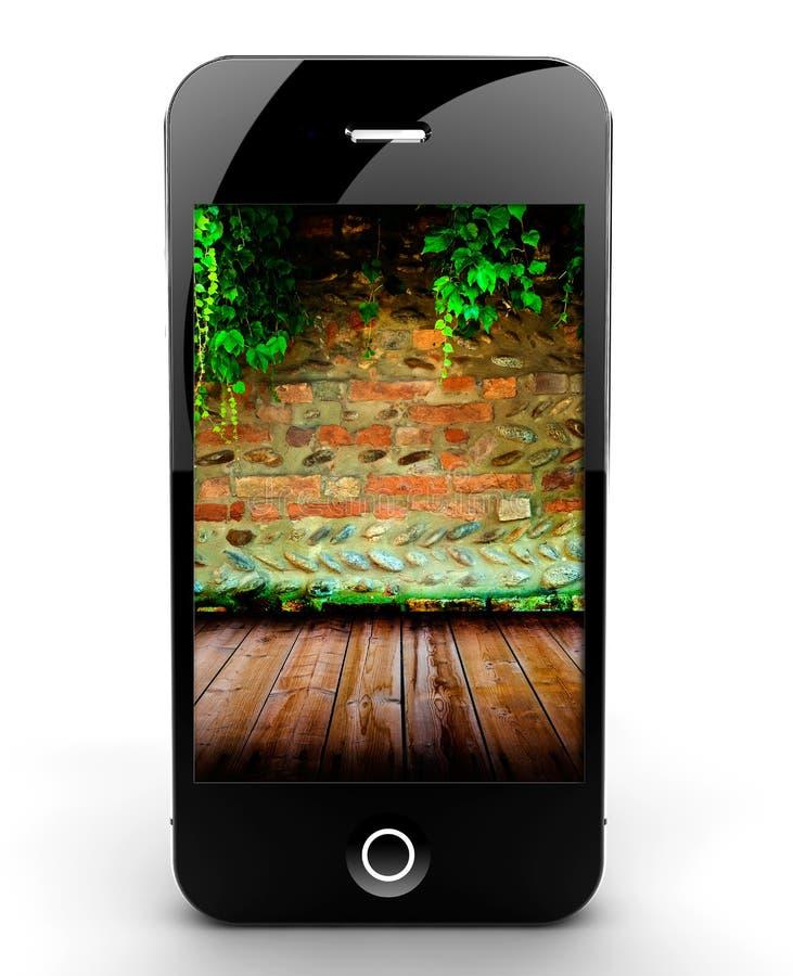 Smartphone con la pared de ladrillo stock de ilustración