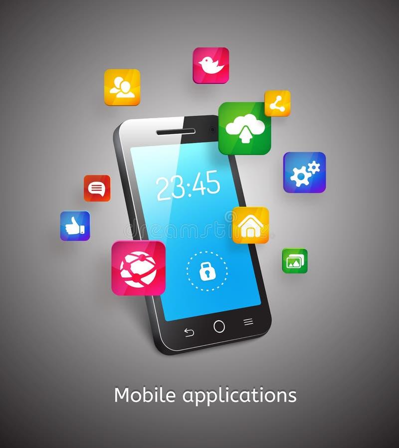Smartphone con las nubes y los iconos del app ilustración del vector