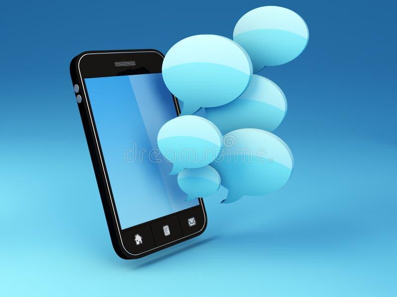 Smartphone con le bolle di discorso illustrazione di stock