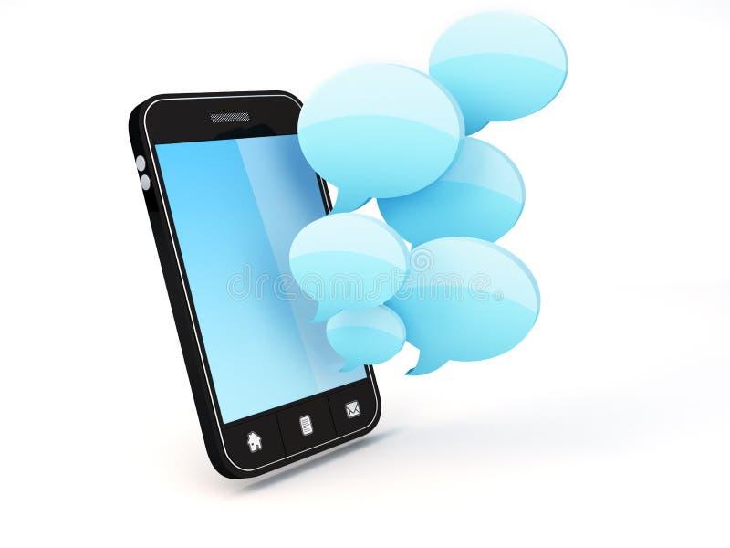Smartphone con le bolle di discorso illustrazione vettoriale