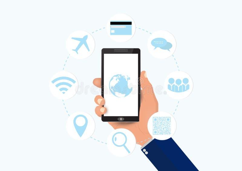 Smartphone con le icone sociali di comunicazione di media, concetto della tenuta della mano di tecnologia di affari illustrazione di stock