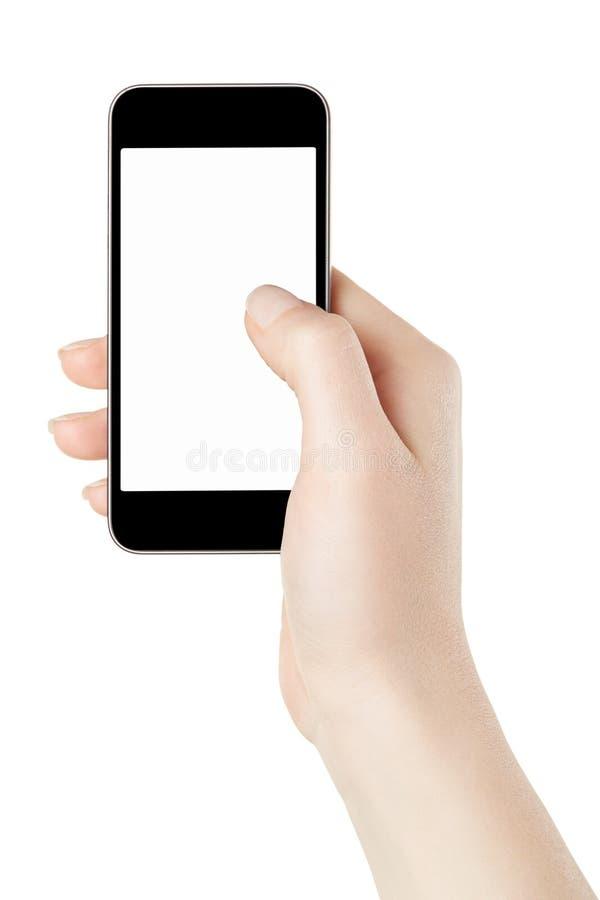 Smartphone con lo schermo in bianco in mano della donna immagine stock