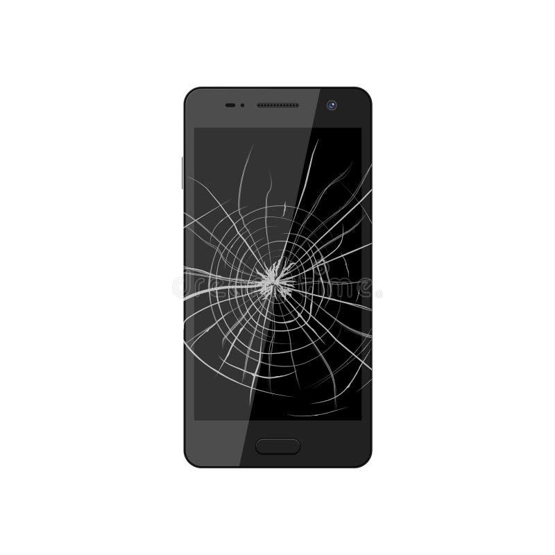 Smartphone con lo schermo rotto Il monitor schiantato del telefono richiede con riferimento a illustrazione di stock