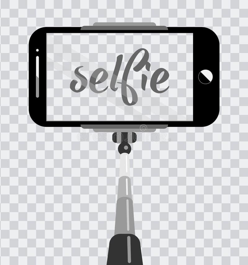 Smartphone con lo schermo vuoto sul monopiede isolato su fondo trasparente Selfie fotografico sul concetto del telefono cellulare royalty illustrazione gratis