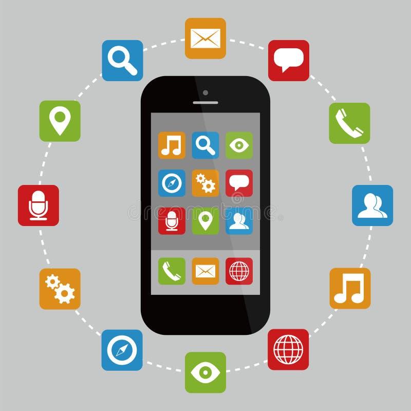 Smartphone con los apps stock de ilustración