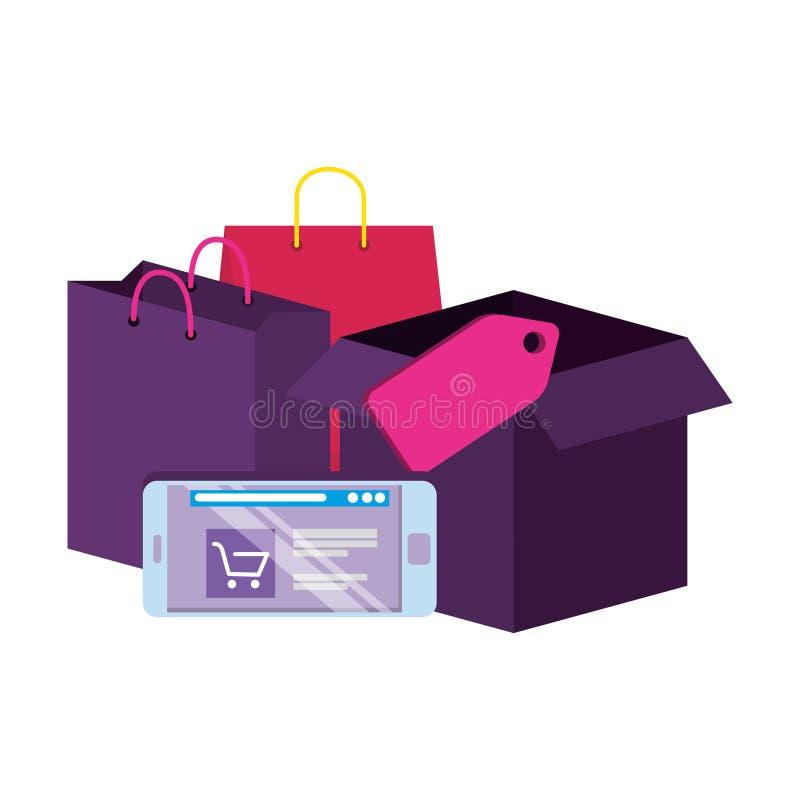 Smartphone con los bolsos y la caja de compras ilustración del vector