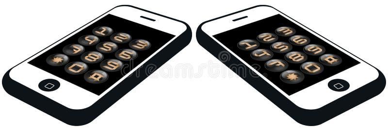 Smartphone con los botones determinados del número stock de ilustración