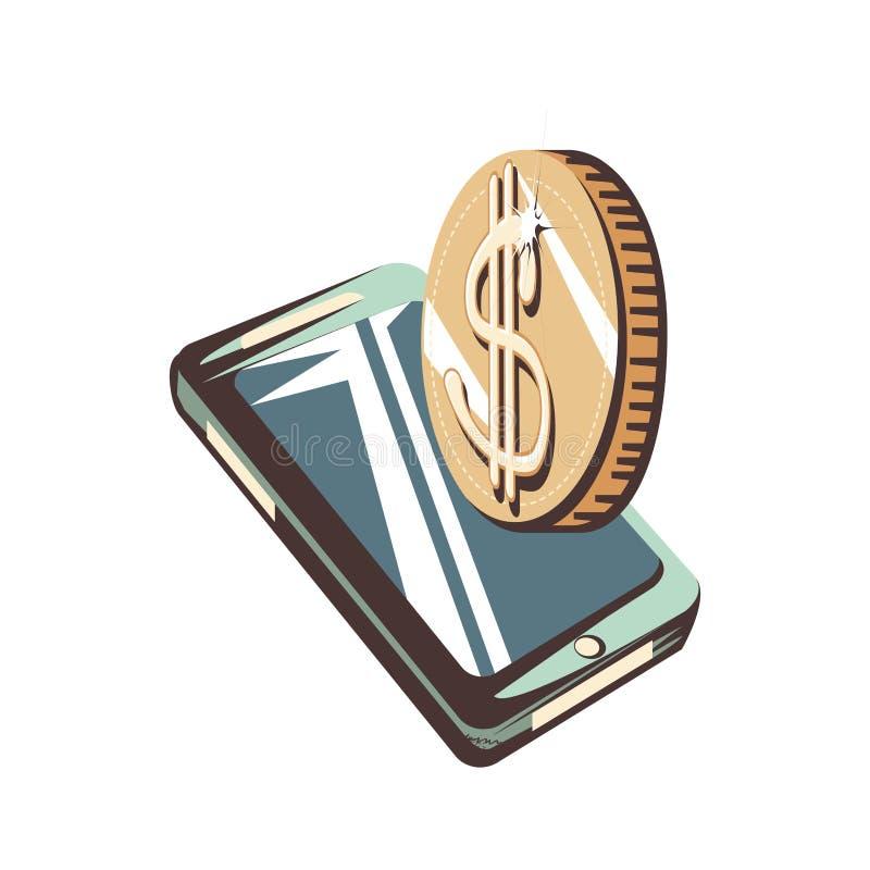 Smartphone con los dólares de las monedas libre illustration