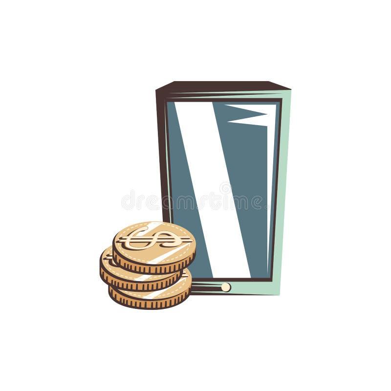 Smartphone con los dólares de las monedas ilustración del vector