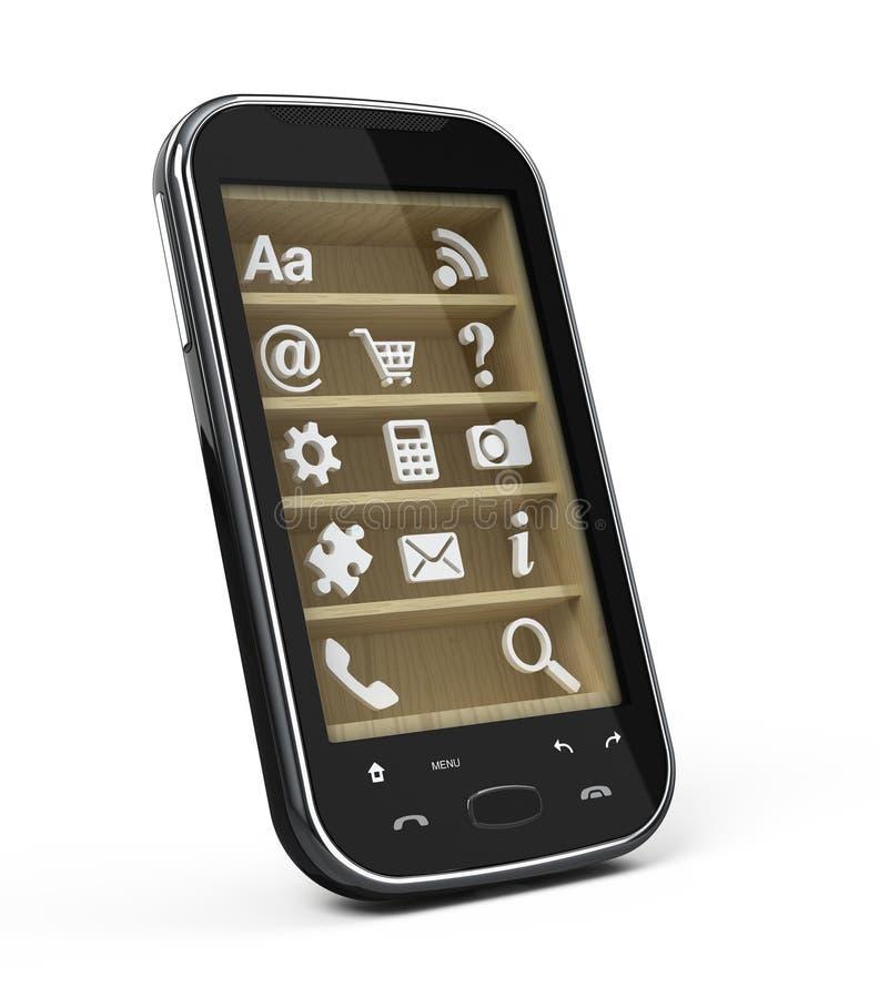 Smartphone con los iconos de la aplicación stock de ilustración